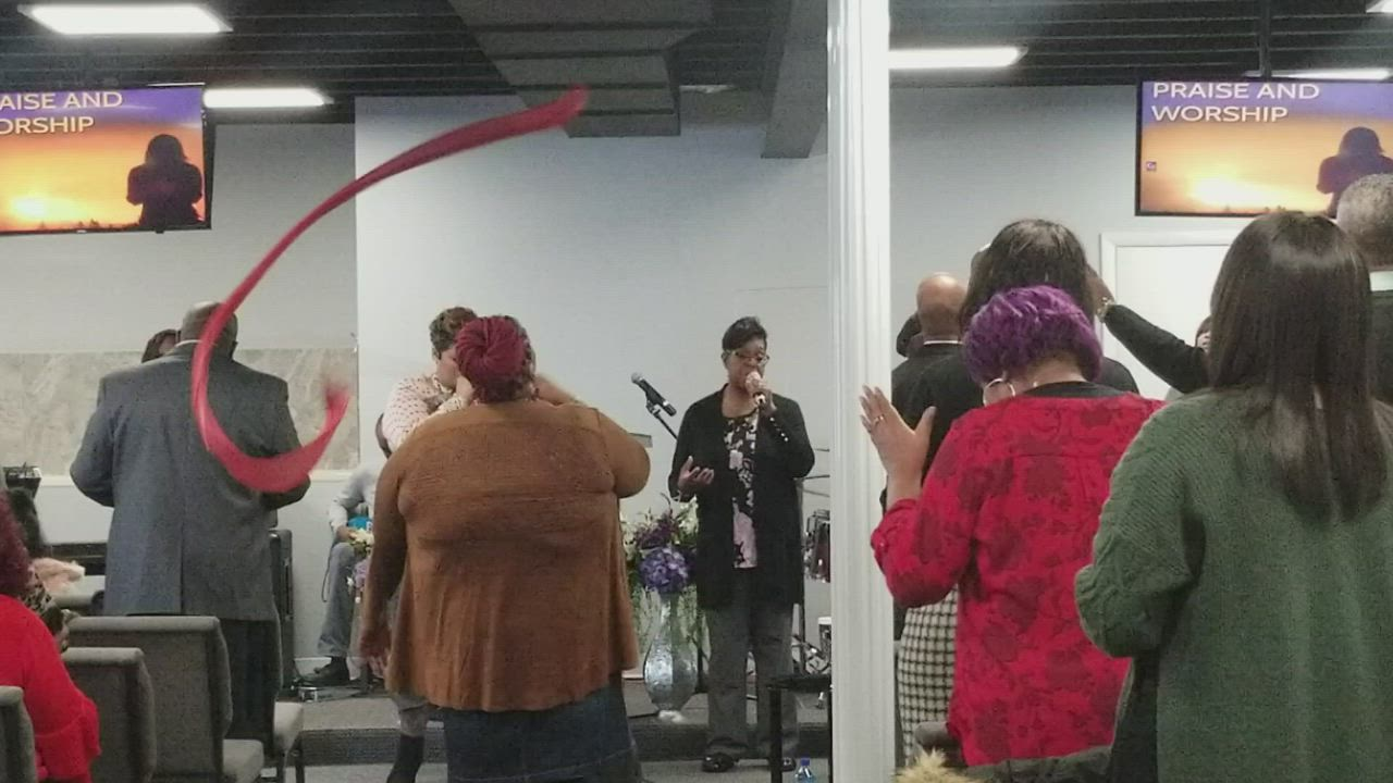A glimpse at the way New Covenant Worship Center in Joliet worships on Sunday morning.