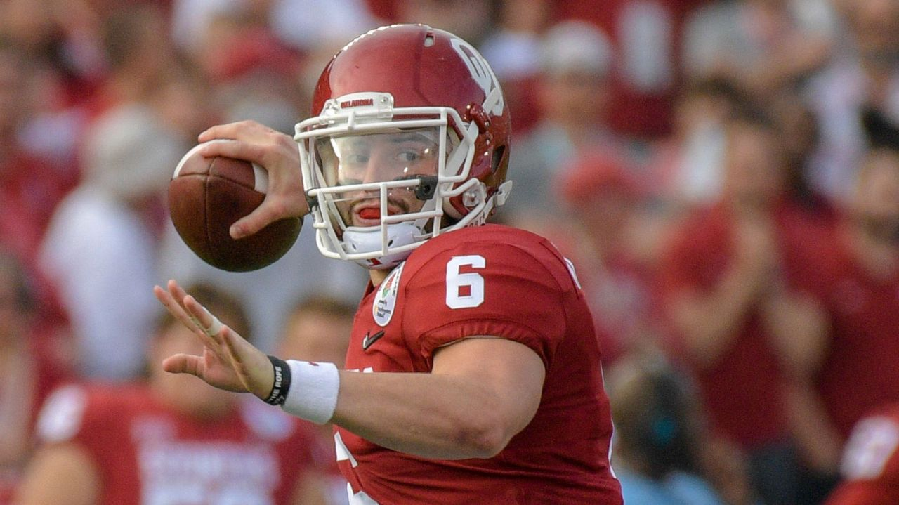 Oklahoma quarterback Baker Mayfield is as strong a competitor as you will find at the QB position in the past few years. He has an extremely quick release to go along with a tight overhand delivery. Spins the ball well with good-to-real good overall arm strength. Only thing he really lacks is ideal height. Mayfield will be the wild card of this draft.