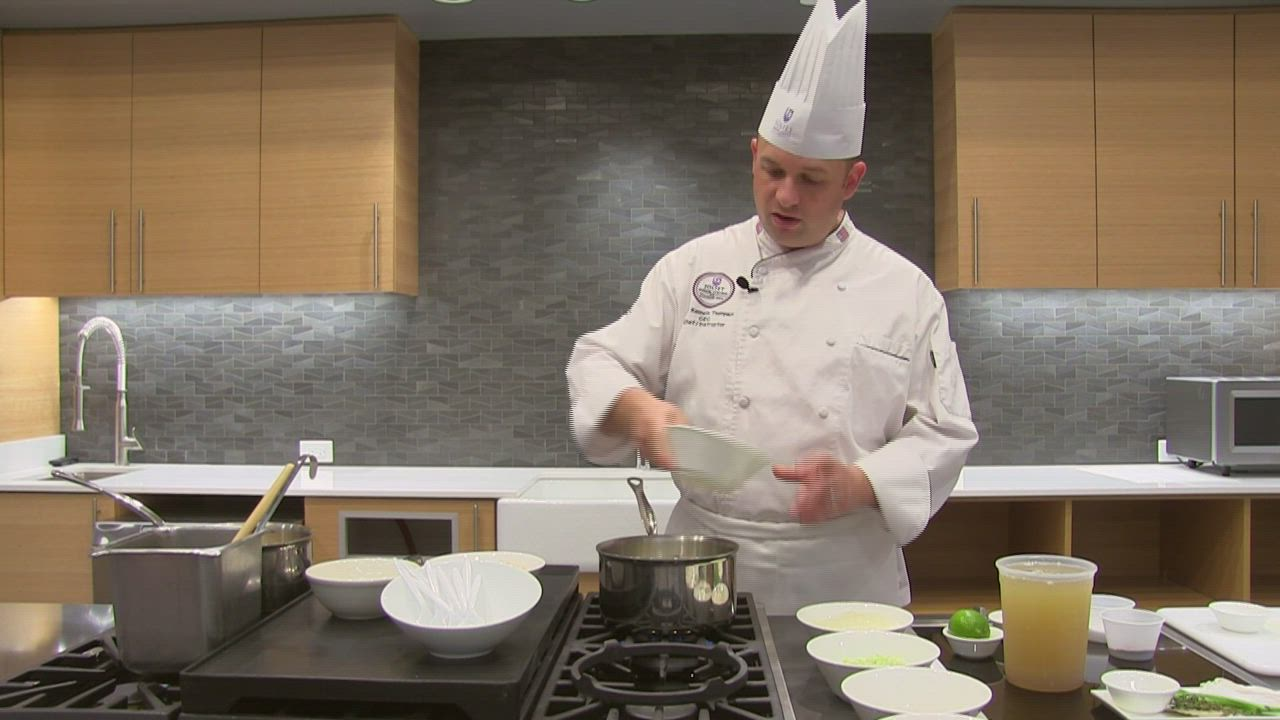 "Joliet Junior College chef instructor Ken Thompson shows how to make chicken rice soup in episode four of ""Whisking It Up."""