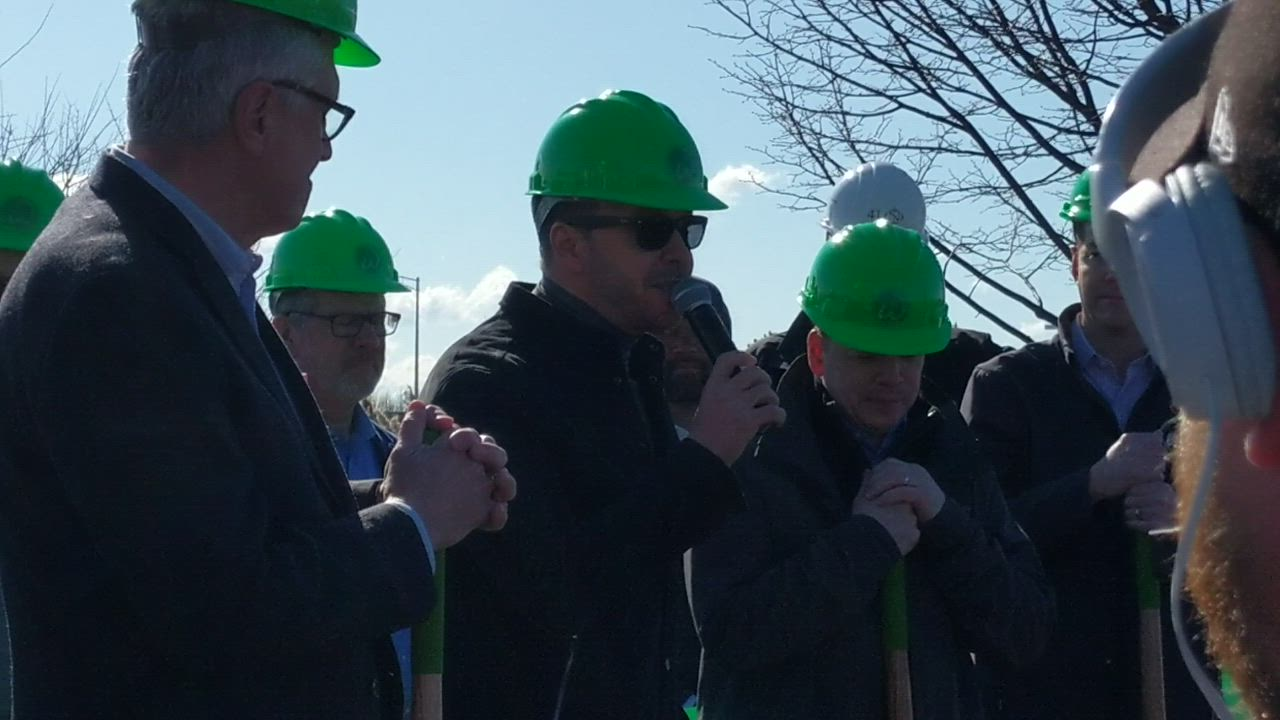 Actor and St. Charles resident Donnie Wahlberg along with his brother Paul and St. Charles Mayor Ray Rogina break ground March 22 on a Wahlburgers restaurant. Donnie Wahlberg and his wife, actress and television/radio host Jenny McCarthy, live in St. Charles