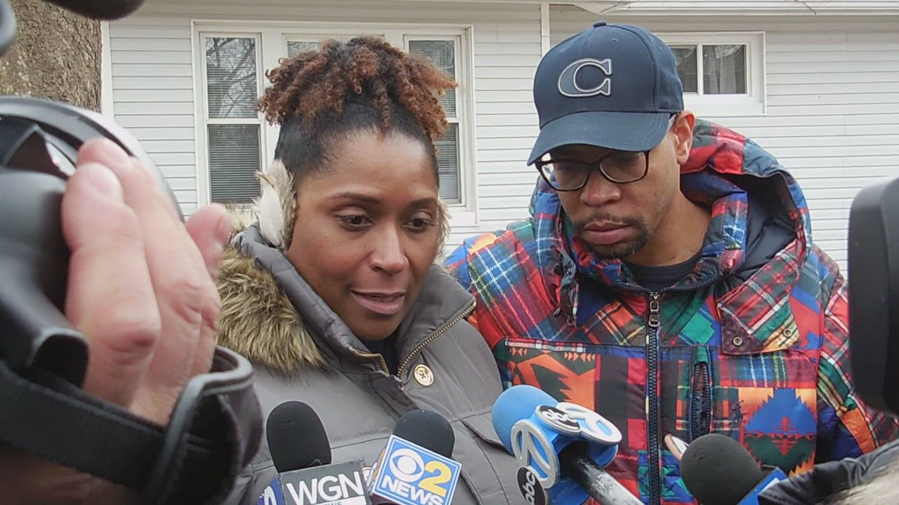 Rusha Brooks, the mother of a Joliet woman who was killed by her boyfriend on Feb. 27, 2019, speaks to the media.