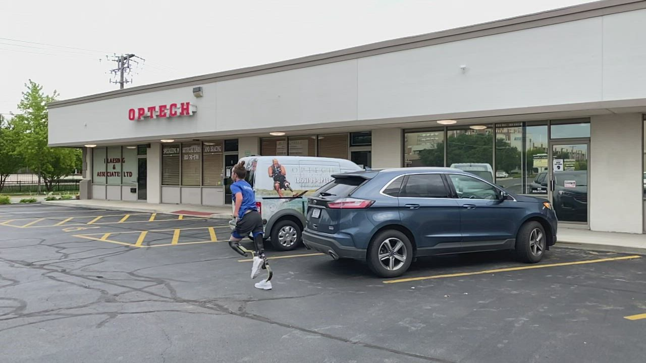 Landis Sims, 14, of Indiana, shows off the speed of his new running legs from David Rotter Prosthetics in Joliet. Video courtesy of David Rotter.