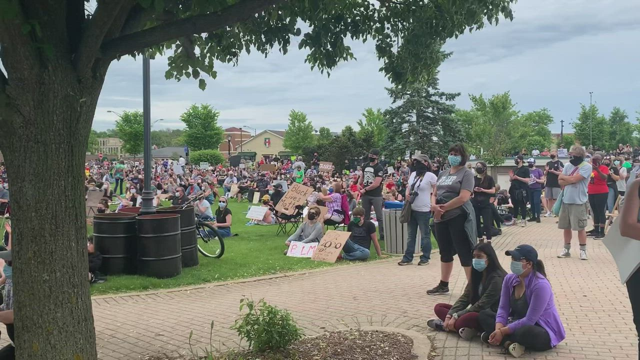 "A look at the crowd while ""Lean on Me"" plays at Wednesday's Black Lives Matter protest in Batavia"