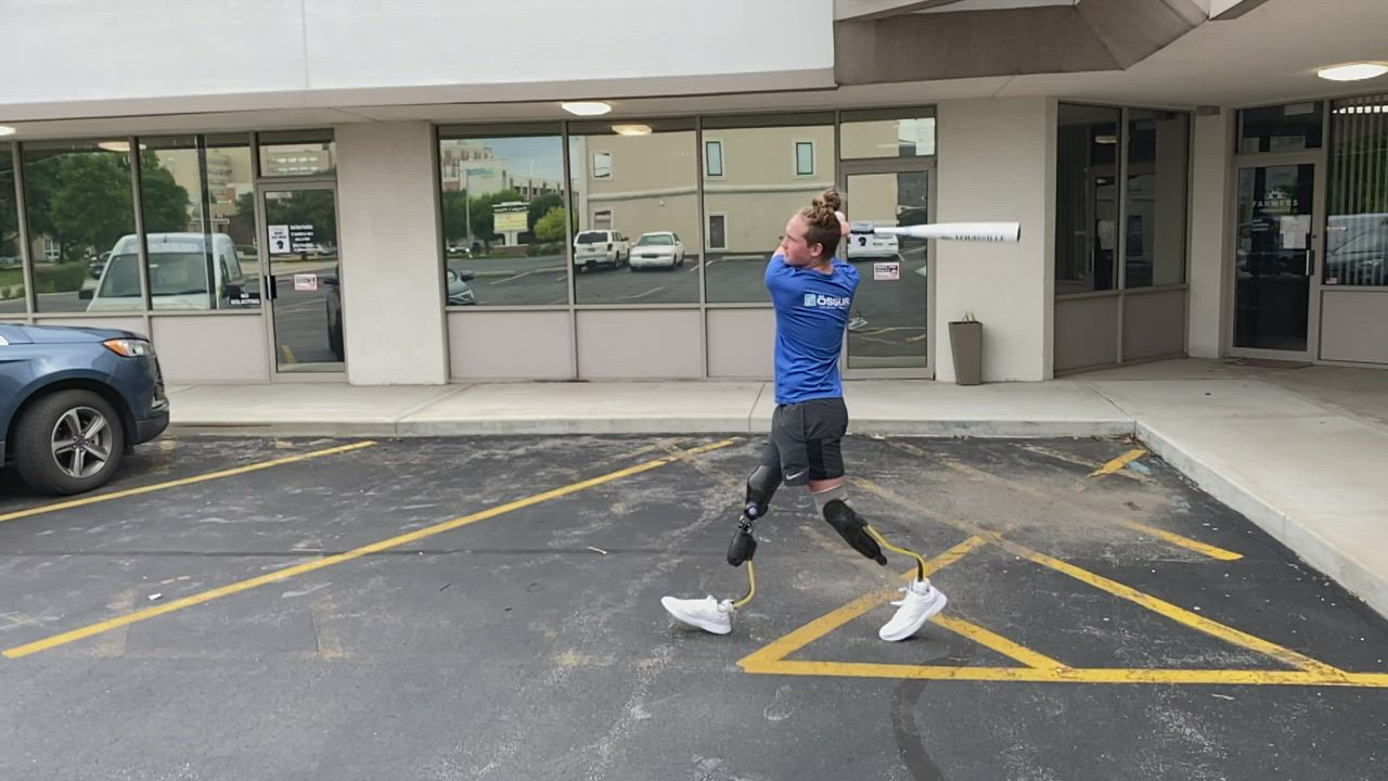 "Landis Sims, 14, of Indiana, simulates running to ""home"" in baseball with his new running legs from David Rotter Prosthetics in Joliet. Video courtesy of David Rotter."