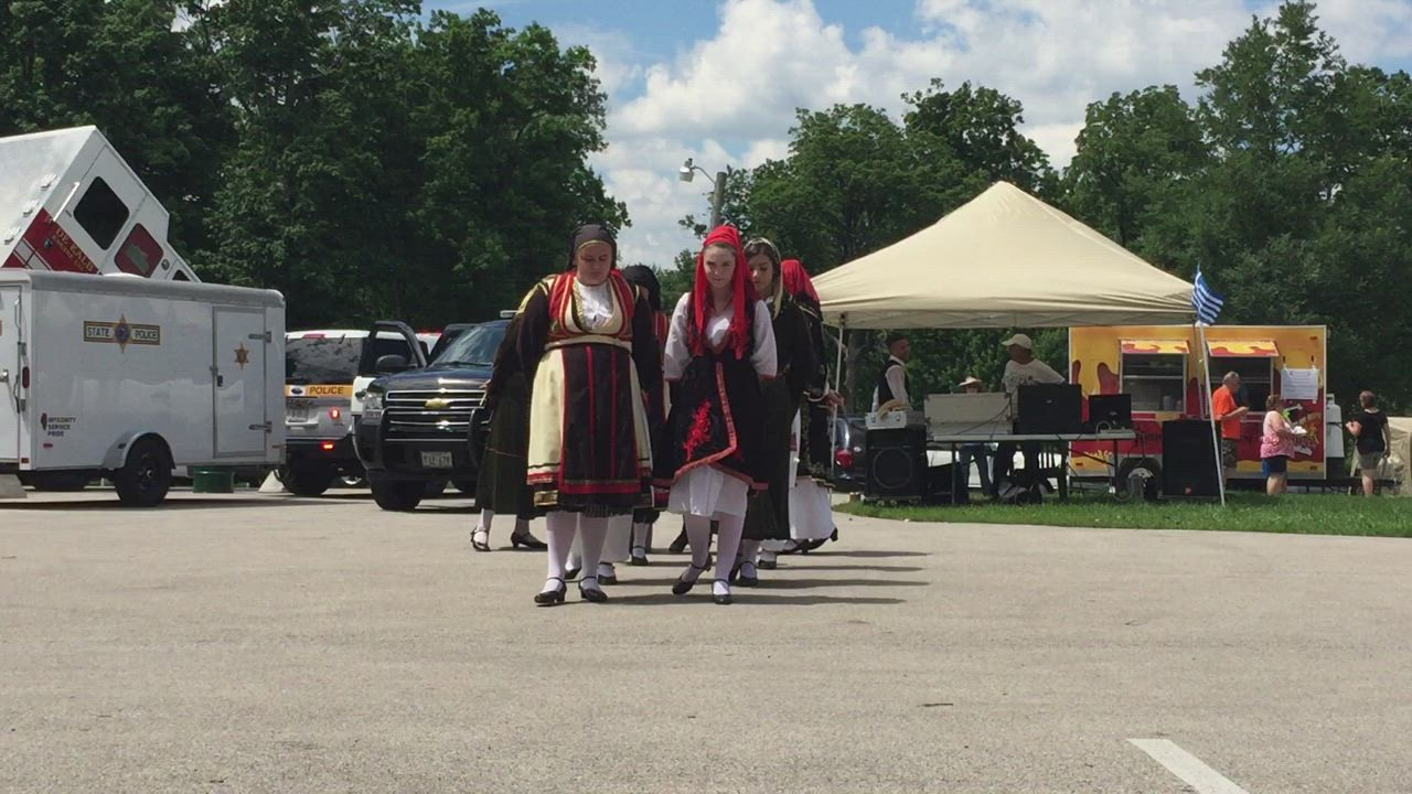 Greek dancers from St. Sophia Greek Orthodox Church in Elgin perform a traditional spoon dance at the DeKalb Greek Fest on Saturday.