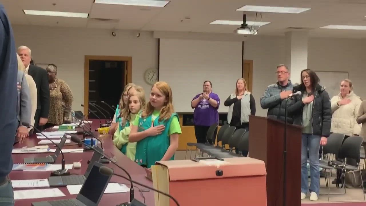 Sycamore Girl Scout Juniors Troop 82 from Sycamore School District 427's West Elementary School and Southeast Elementary School recited the Pledge of Allegiance Monday night before the Sycamore City Council started its meeting inside the Council Chambers at Sycamore Center.