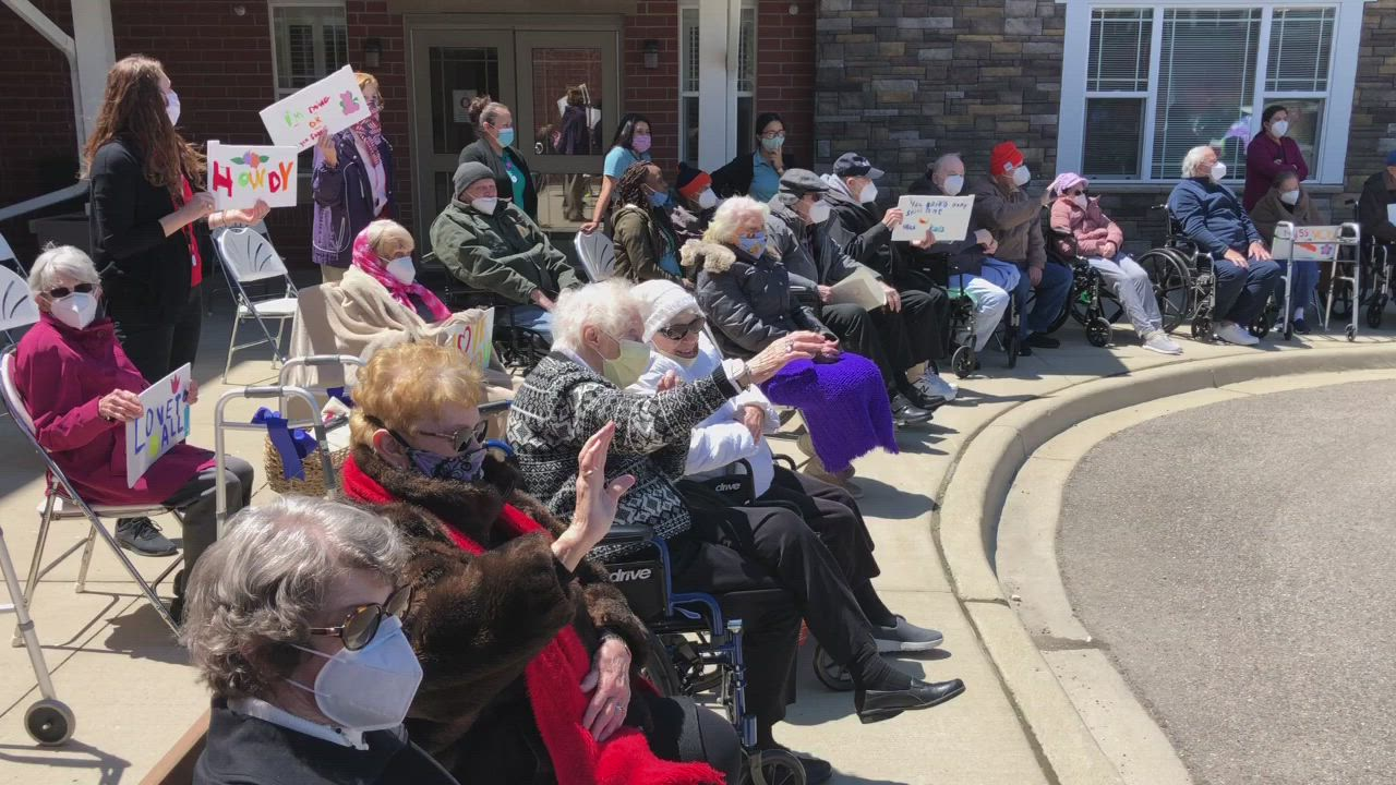 Family members paraded around the Clarendale of Algonquin senior residence during a Mother's Day parade on Saturday, May 9, 2020 in Algonquin.