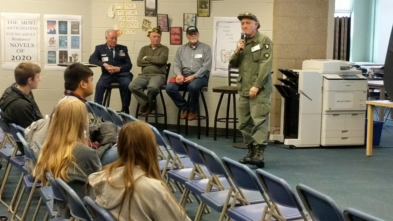 Vietnam War veteran Mike Pikulyk talks to St. Charles North High School students on Jan. 23 as part of their Modern American History class.