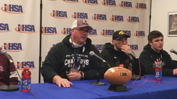 Wolves coach Chris Schremp and his players talk about the state title game.