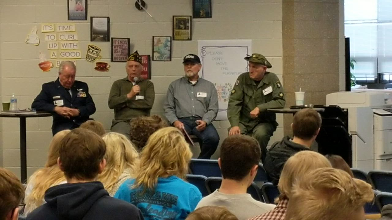 Vietnam War veteran Richard Zawislak talks to St. Charles North High School students on Jan. 23 as part of their Modern American History class.