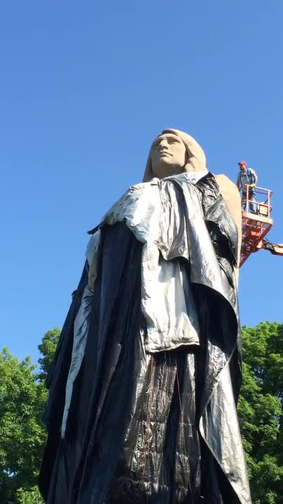 The protective covering comes off of the Black Hawk statue June 1 at Lowden State Park in Oregon.