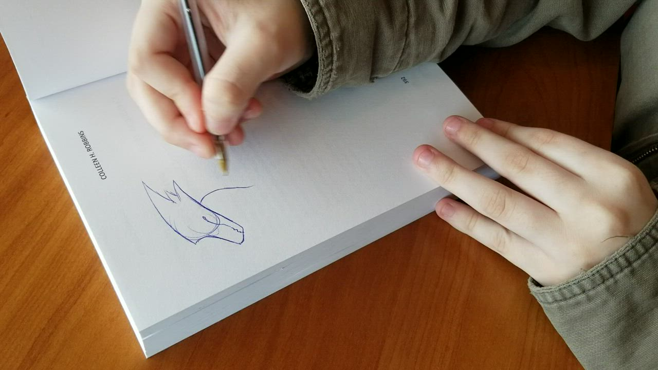 "Joliet 12-year-old Abby White quickly sketches a dragon in the back of ""Daraga's Quest"" by Joliet author Colleen Robbins"