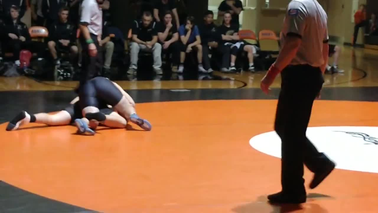 Roach gets a takedown, works toward pin. Got it about a minute later