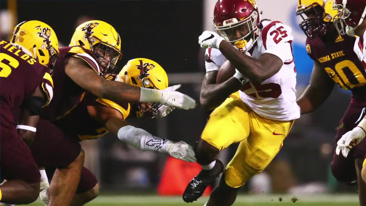One player who will create a lot of discussion over the next several weeks is Ronald Jones of USC. At just 5-foot-11, 205 pounds, Jones doesn't have the prototypical size to be an elite every-down back in the NFL. Instead, he will likely have to be a part of a committee in which he is expected to provide the speed and big plays rather consistently. Jones discusses his NFL future at the 2018 NFL Combine.