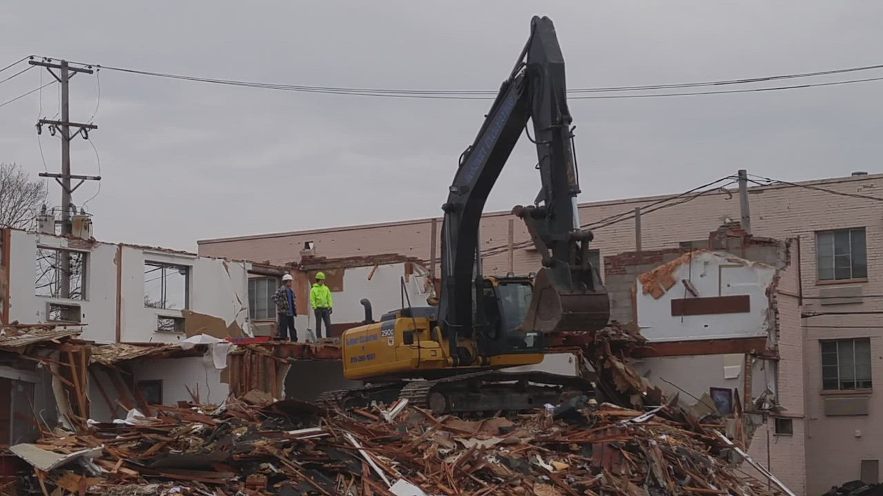 Demolition continues on one of the buildings that comprises the Budgetel Inn and Suites and America's Best Inn in the 600 block of Roosevelt Road, Glen Ellyn.