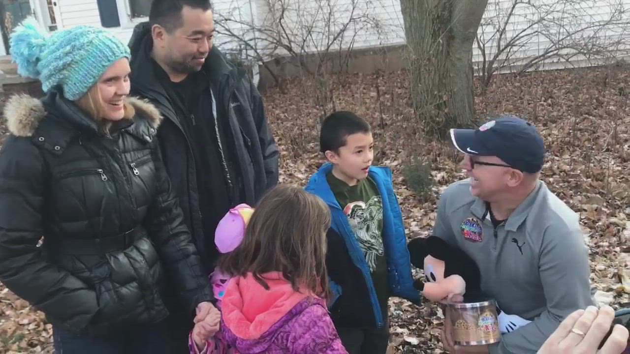 DeKalb 7-year-old Will Kim, who battles a chronic liver disease, gets a surprise of a lifetime from New York-based Baking Memories 4 Kids and the DeKalb Fire Department. They presented the Kim family Thursday with an all-inclusive, expense-paid week-long trip to Disneyland and all of Florida's amusement parks.