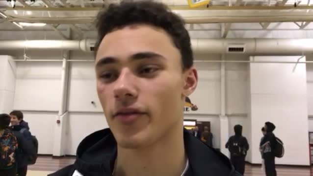Balkcom talks about the Golden Eagles' fast start in their 62-45 FVC win over Dundee-Crown.